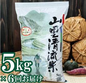 【ふるさと納税】054001. 【定期便】山里清流米コシヒカリ 5kg×6回(隔月)