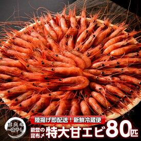 【ふるさと納税】[D024] 姫丸の昆布〆特大甘エビ80匹(獲れたて鮮度抜群!まるごと昆布〆!)