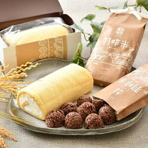 【ふるさと納税】[K021] 自然栽培の米粉を使用「羽咋米ロール」2本と「チョコっと羽咋米」2袋セット
