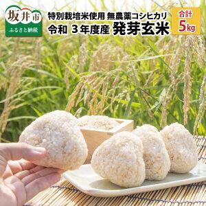 【ふるさと納税】【令和3年産】【発芽玄米】 無農薬コシヒカリ「特選」 特別栽培米使用 5kg