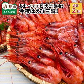 【ふるさと納税】あま〜い!エビ!えび!海老!今夜はえび三昧!大漁2kg!!(1kg × 2箱)