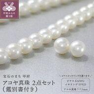 【ふるさと納税】アコヤ真珠ネックレス2点セットペア珠K14WG花珠真珠送料無料