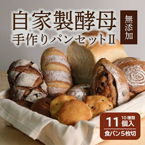 【ふるさと納税】【着日指定可】自家製酵母のパンセット【2】(10種類11個、食パン5枚切り)|パン 食パン 菓子パン 常温 常温発送 つめあわせ 詰合せ 詰め合わせ セット ギフト コロナ 支援