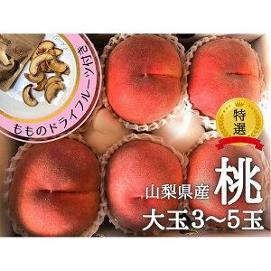 【ふるさと納税】山梨県産 桃 大玉 約1.2kg & 桃のドライフルーツ(ミニ)付き