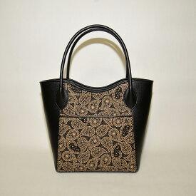【ふるさと納税】山梨の伝統工芸品 甲州印伝 手提げバッグ(花 ペーズリー 黒白)◆