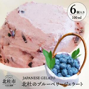 【ふるさと納税】ジェラート ブルーベリー ミルク味 低カロリー 6個入 山梨県 北杜市産 送料無料