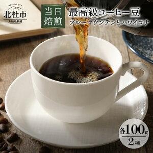 【ふるさと納税】 コーヒー 最高級コーヒー豆 珈琲 ブルーマウンテン ハワイコナ コーヒー豆 100g×2種 当日焙煎 豆は挽いてお届け 送料無料
