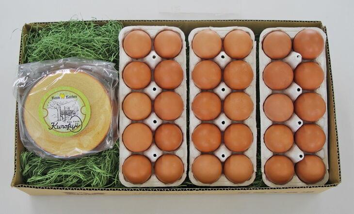 【ふるさと納税】【定期便】放牧卵30個&森のバウムクーヘン1個×12ヶ月(甲斐B-35)