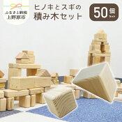 【ふるさと納税】ヒノキ・スギ積み木セット(50個入)