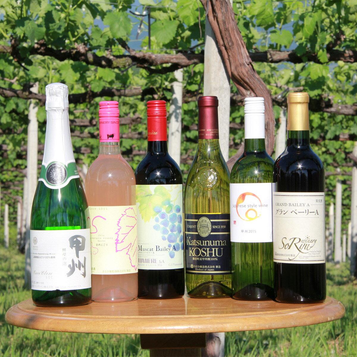 【ふるさと納税】山梨ワインバラエティー6本セット(TO−52)山梨ワインを楽しめるタイプの違う6品種のチョイス