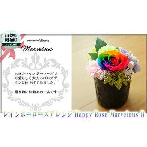 【ふるさと納税】レインボーローズアレンジ Happy Rose Marvelous B 【植物・インテリア・お花・贈り物・開運効果・厄除け・サプライズギフト】