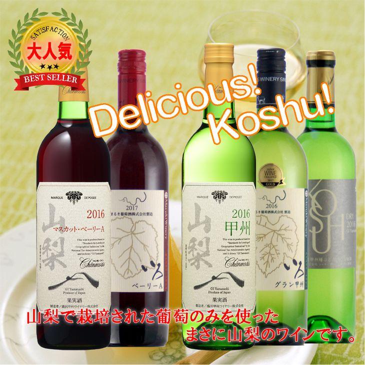 地理的表示『山梨』ワイン 5本セット R308☆コンクール受賞ワインを中心の高評価セット!☆