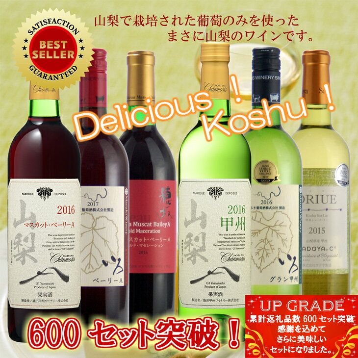 【ふるさと納税】地理的表示『山梨』ワイン 6本セット R308☆コンクール受賞を中心の高評価セット!