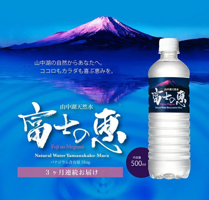 【ふるさと納税】【定期便】3カ月連続お届け 富士の麓、標高約1000mに位置する湖、山中湖村で採水された富士山の天然水 富士の恵 24本入り 9箱セット(3セット×3カ月分)(216本)