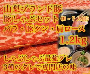 【ふるさと納税】専門店のタレと山梨ブランド豚食べ比べ豚しゃぶセット