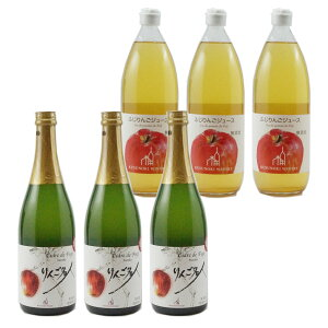 【ふるさと納税】シードル、りんごジュース各3本セット 【ワイン・お酒・ジュース・りんご酒・林檎・リンコ・アップルジュース・洋酒】