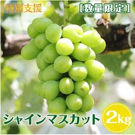 【ふるさと納税】≪特別支援≫[数量限定]皮ごと・種無しブドウ!長野県産 シャインマスカット 約2kg 秀品 大人気のぶどう!※2021年9月上旬〜9月下旬頃に順次発送予定※着日指定はできません。沖縄・離島への発送不可。