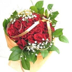 【ふるさと納税】赤系のバラの花束40本カスミソウ付き 【植物】