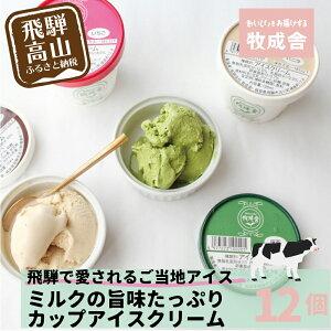 【ふるさと納税】<牧成舎>飛騨の牛乳屋が作る、ミルクの旨味たっぷりカップアイスクリームセット(12入り) b600