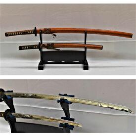 【ふるさと納税】模造刀 飾り刀(金茶) 大小セット 刀掛け付き H80-03