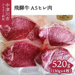 【ふるさと納税】40009 【おうちBBQ】飛騨牛A5ヒレ肉 130g×4枚