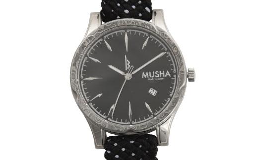 【ふるさと納税】 MUSHA Damascus Watch 組紐タイプ 文字盤:黒 ベルト:黒