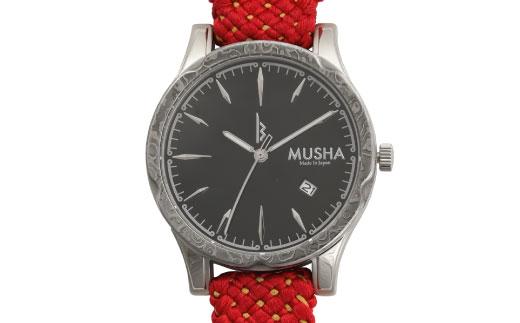 【ふるさと納税】 MUSHA Damascus Watch 組紐タイプ 文字盤:黒 ベルト:赤