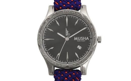 【ふるさと納税】 MUSHA Damascus Watch 組紐タイプ 文字盤:黒 ベルト:青
