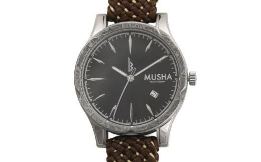 【ふるさと納税】 MUSHA Damascus Watch 組紐タイプ 文字盤:黒 ベルト:オリーブ