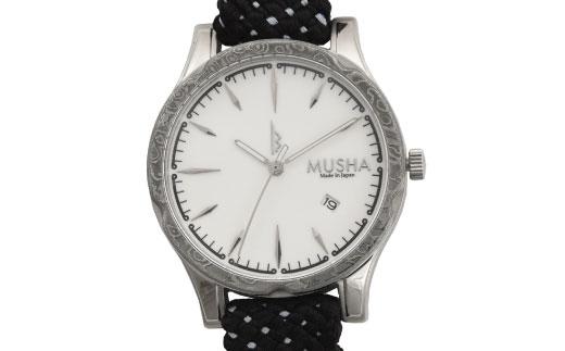 【ふるさと納税】 MUSHA Damascus Watch 組紐タイプ 文字盤:白 ベルト:黒