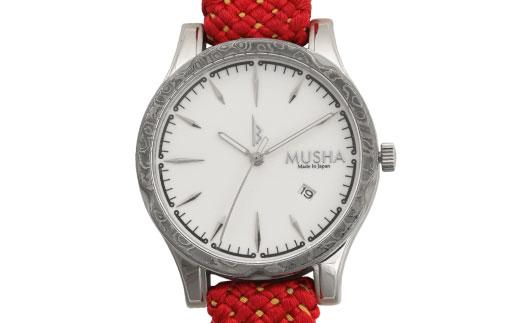 【ふるさと納税】 MUSHA Damascus Watch 組紐タイプ 文字盤:白 ベルト:赤