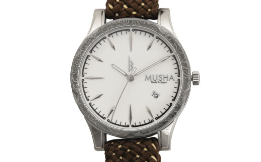 【ふるさと納税】 MUSHA Damascus Watch 組紐タイプ 文字盤:白 ベルト:オリーブ