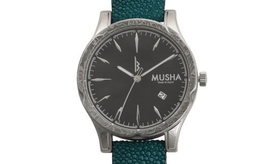 【ふるさと納税】 MUSHA Damascus Watch エイ革タイプ 文字盤:黒 ベルト:ターコイズブルー