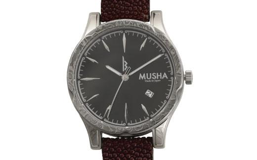 【ふるさと納税】MUSHA Damascus Watch エイ革タイプ 文字盤:黒 ベルト:バーガンディー