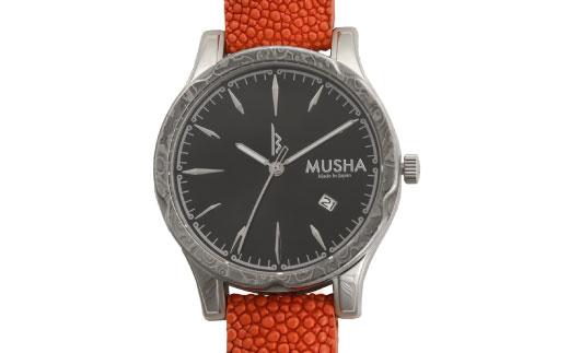 【ふるさと納税】 MUSHA Damascus Watch エイ革タイプ 文字盤:黒 ベルト:オレンジ