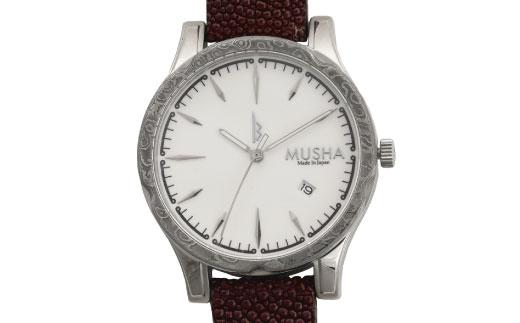 【ふるさと納税】MUSHA Damascus Watch エイ革タイプ 文字盤:白 ベルト:バーガンディー