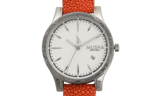 【ふるさと納税】MUSHA Damascus Watch エイ革タイプ 文字盤:白 ベルト:オレンジ