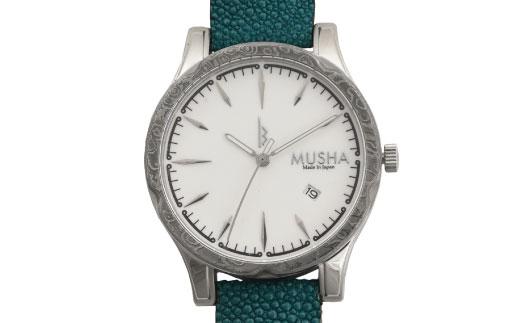 【ふるさと納税】MUSHA Damascus Watch エイ革タイプ 文字盤:白 ベルト:ターコイズブルー