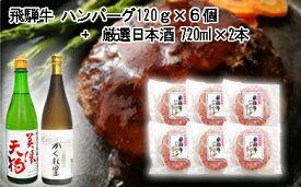 【ふるさと納税】5-7 飛騨牛 ハンバーグ120g×6個入り + 厳選日本酒720ml×2本