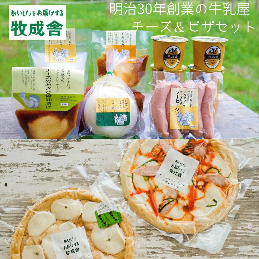 【ふるさと納税】<牧成舎>飛騨のナチュラルチーズ&チーズたっぷりピザ&ヨーグルトセット[D0002]