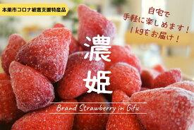 【ふるさと納税】岐阜県ブランド「濃姫」冷凍いちご 1kg [0292]