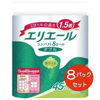 【ふるさと納税】エリエールトイレットティシュー(コンパクトダブル)8R×8パック