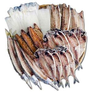 伊豆・伊東干物セット 上トロあじ8枚 鯖味醂3枚 塩鯖3枚 特上本かます3枚 特大イカ2枚セット ひもの佐々木海産の詰め合わせ【ふるさと納税】