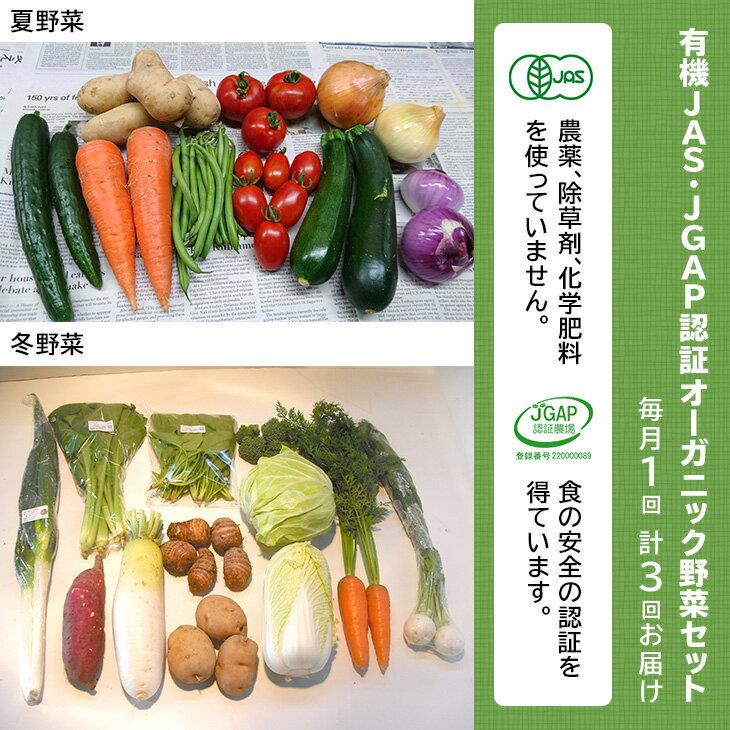 【ふるさと納税】有機JAS・JGAP認証オーガニック野菜セット毎月1回・計3回お届け定期便