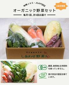 【ふるさと納税】有機JAS・JGAP認証オーガニックしあわせ野菜セット毎月1回・計3回お届け定期便