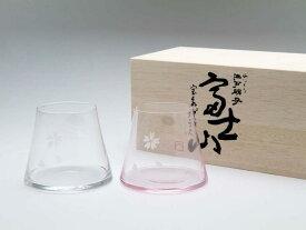【ふるさと納税】富士山宝永グラス ペア(クリア・さくら)◆