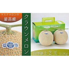 【ふるさと納税】クラウンメロン(白上級)2玉 箱入り 【果物・マスクメロン・青肉】