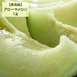【ふるさと納税】最高級 温室アローマメロン(マスクメロン)山級 1玉 化粧箱入り 【果物類・メロン青肉・1玉】