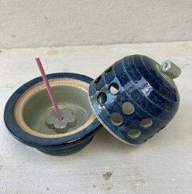 【ふるさと納税】香炉(小)香立て付 青ゴス水玉