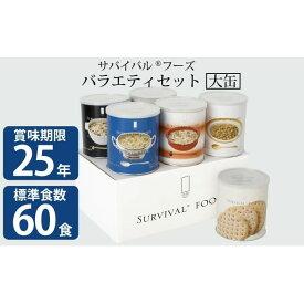 【ふるさと納税】25年保存 サバイバルフーズ 大缶バラエティセット(60食相当) 【缶詰・非常食】